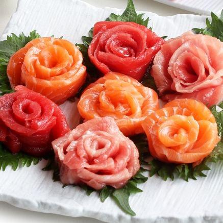 ギフト 本マグロ大トロ 赤身 サーモン 3種スライスセット (グルメ まぐろ 鮪 マグロ 海鮮セット 手巻き寿司 食べ物 プレゼント お花 健