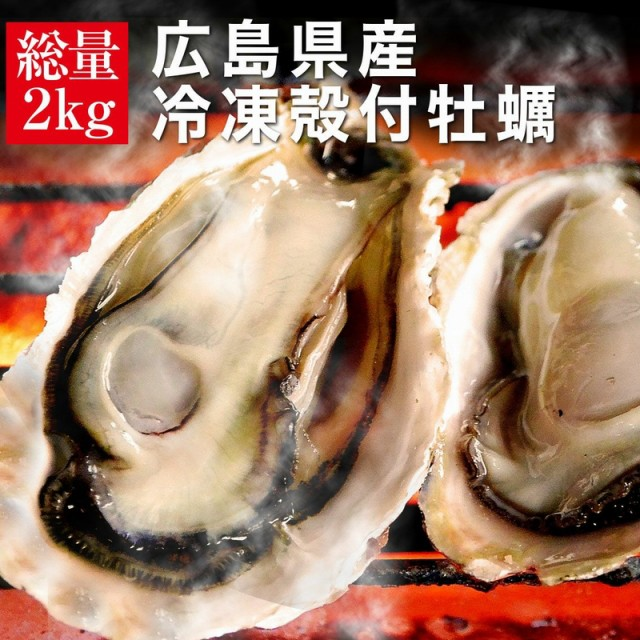 送料無料 殻付き 冷凍 牡蠣 広島県産 2kg 約15〜18個入 2〜3人前 海鮮 キャンプ バーベキュー BBQ カンカン焼き 追加用として人気 カンカ