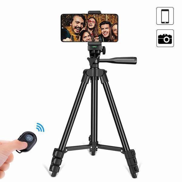 【スマホ三脚】 ビデオカメラ 三脚 4段階伸縮 コンパクト アルミ製 Bluetoothリモコン 収納袋付き 旅行用 持ち運びに便利
