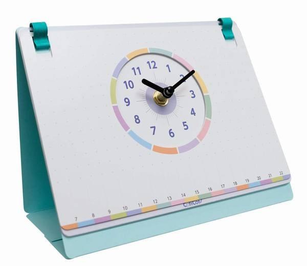 欧文印刷 ホワイトボード付き卓上時計 CotiCoti (コチコチ)ターコイズブルー CT01TRBE03