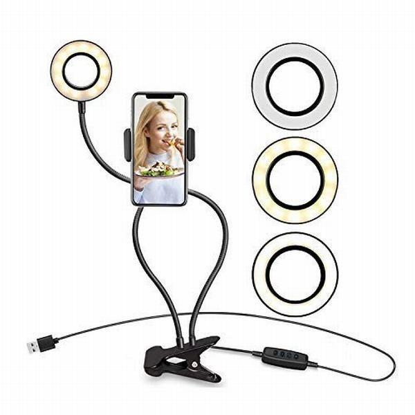 自撮り LED リングライト クリップライト 自撮りライト スマホスタンド付き 携帯スタンド 高度調節 360度回転可
