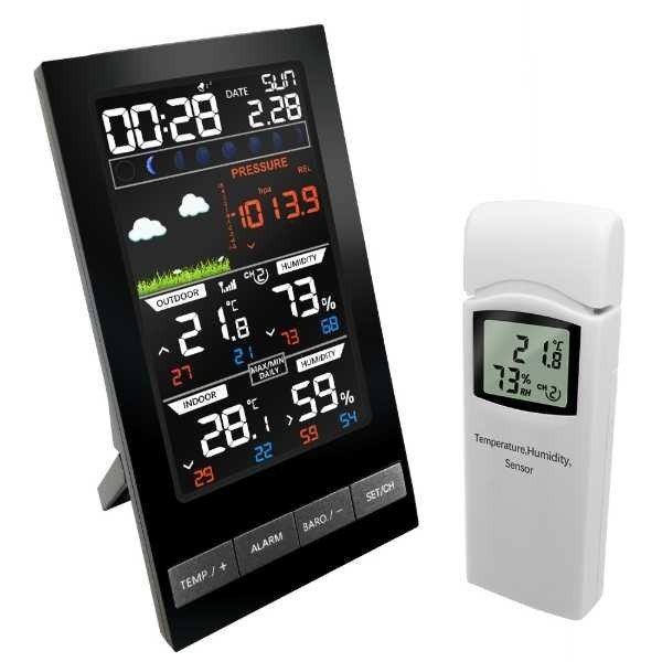 ワイヤレスウェザーステーション3チャンネル屋外デジタル温度計MMHGバロメーター湿度計天気予報アラーム時計露点