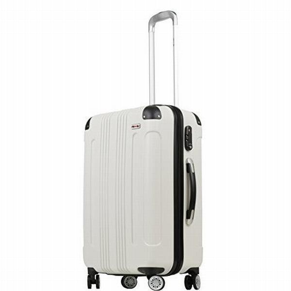 (ムーク)M∞K 超軽量スーツケース TSAロック付き 機内持ち込みSサイズ~Lサイズ (Mサイズ ホワイト)