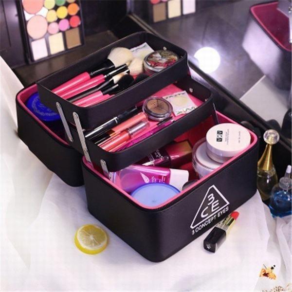 5color!3CE/3ceメイクボックス コスメボックス 雑貨 小物入れ 持ち運び可 ネイル プロ 美容 大容量 アクセサリー 収納 化粧品