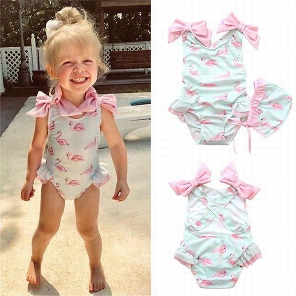 水着 キッズ ベビー服 女の子 ラッシュガード 水着 ワンピース キャップ付き 子供 フラミンゴ柄 リボン フリル 2点セットベビースイミン