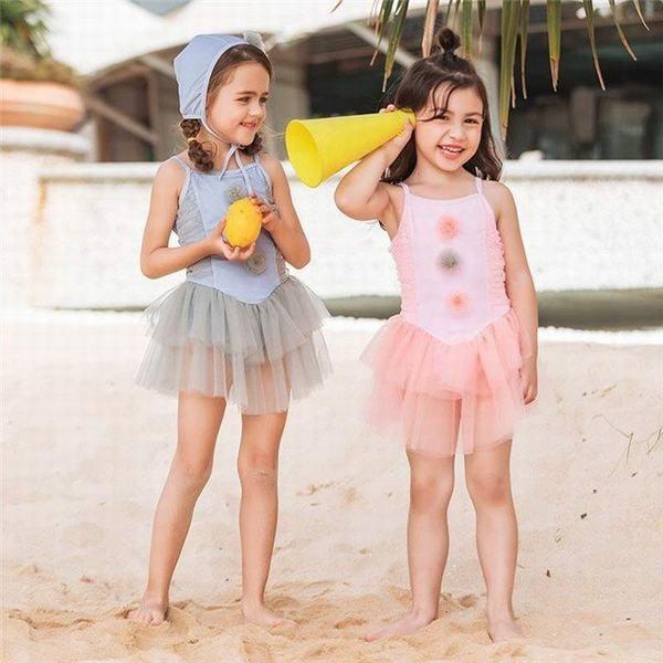 セパレート型水着 一体化服 ワンピース チュチュスカート 帽子/キャップ付き 2点セット 子供 水着 キッズ水着 こども水着 夏新作 女の子