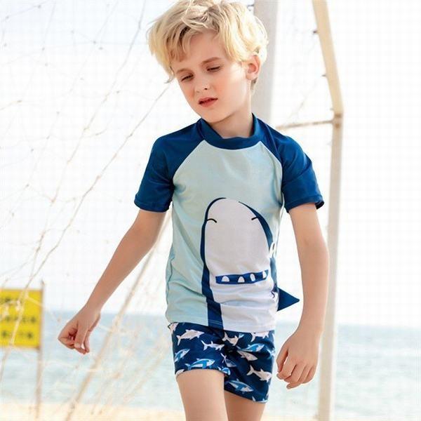 水着 男の子 女の子 キッズ ラッシュガード 子供 セパレート スイムウェア 上下セット 2点セット 半袖水着  トラプリント 魚柄