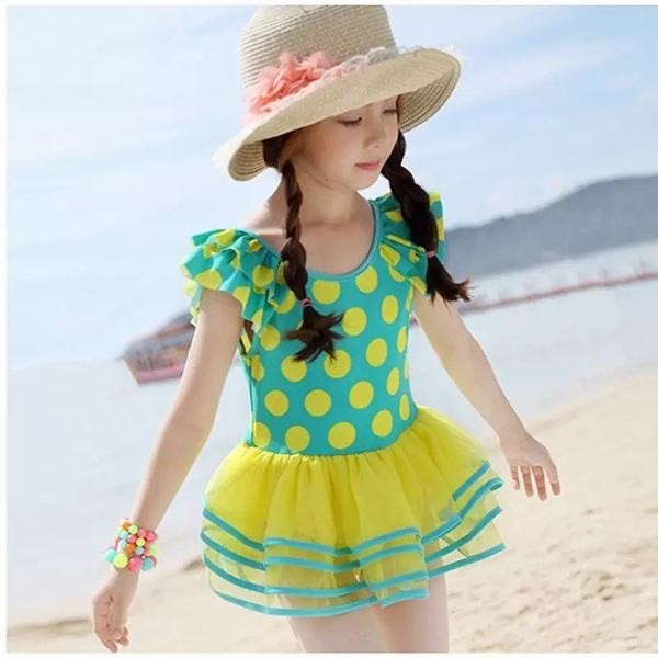 YA-0000281 女の子 夏 セパレート ワンピース 子供 可愛 スカート 紫外線防止 ポリエステル 上下別柄 フリル