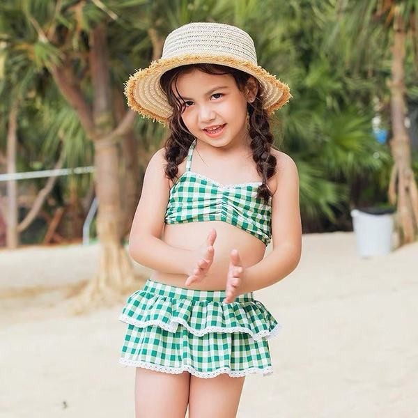 YA-0000282 キッズ 女の子 ワンピース 水着 ビキニ 子供 上下セット セパレート水泳 夏 ホルターネック スイムキャップ