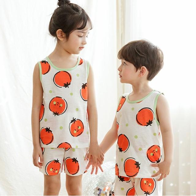 (1)パジャマ キッズ 袖なしルームウェア 綿100% 韓国子供服 子供服 男の子 女の子 ボーイズ ガールズ