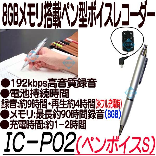 IC-P02(ペンボイスS)【ボイスレコーダー】 【ICレコーダー】【キヨラカ】