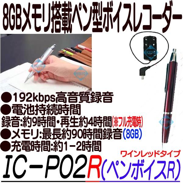 IC-P02R(ペンボイスR)【 ボイスレコーダー】 【ICレコーダー】【キヨラカ】