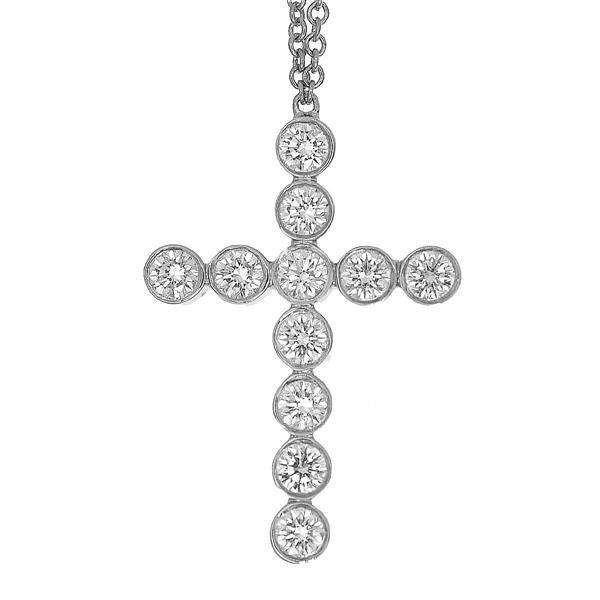 TIFFANY Co. ティファニー ダイヤモンド ジャズ クロス ペンダント ネックレス PT950 プラチナ 21200101