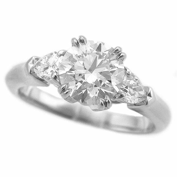 ハリーウィンストン ダイヤモンド(1.11ct D-VS2-3Ex)ラウンド クラシック ペアシェイプ リング PT950 サイズ約6号 #46 GIA鑑定書21290406