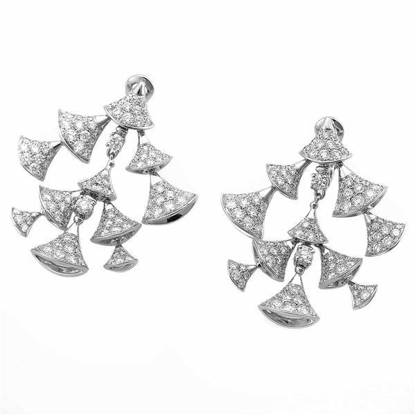 BVLGARI ブルガリ ダイヤモンド(約9.53ct E-G/VVS-VS) ディーヴァドリーム ピアス K18WG ブルガリ鑑別書 MADE IN ITALY 21559295