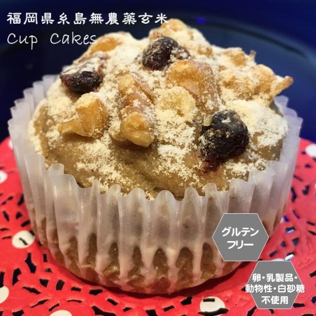グルテンフリー ビーガン 糸島無農薬玄米カップケーキ アレルギー対応 スイーツ ヴィーガン 小麦粉・卵・乳製品・動物性不使用 お菓子