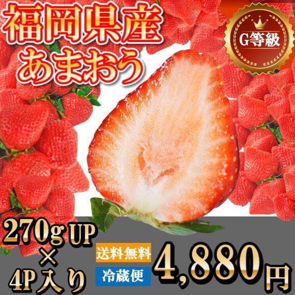 苺 イチゴ いちご あまおう 270g×4P Gサイズ 福岡産 送料無料 果物 くだもの フルーツ【2月1日より発売予定】
