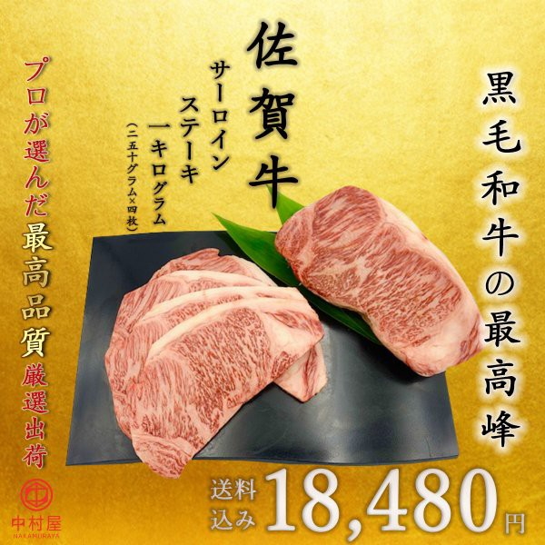 佐賀牛 サーロインステーキ 1kg 250g×4パック 黒毛和牛 和牛 牛肉 贈答 ギフト