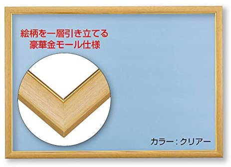 木製パズルフレーム ゴールド(金)モール仕様 クリアー(50×75cm)