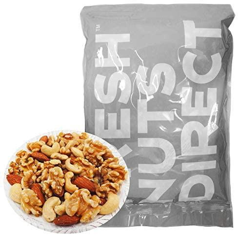 ミックスナッツ 1kg 大粒3種(新物生くるみ、素焼きカシュー、素焼きアーモンド)無添加 無塩 食物油不使用 チャック袋入り アシストフー