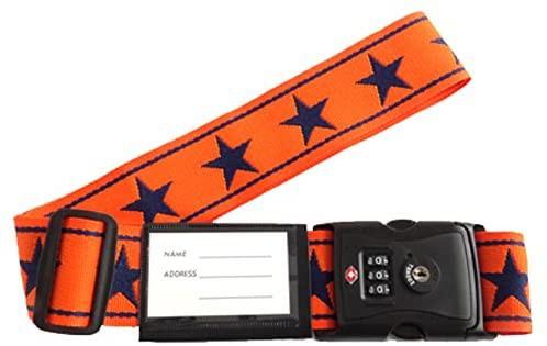 TSA ロック付き スーツケース ベルト (ネーム タグ 付き) ビッグスター柄 オレンジ×紺