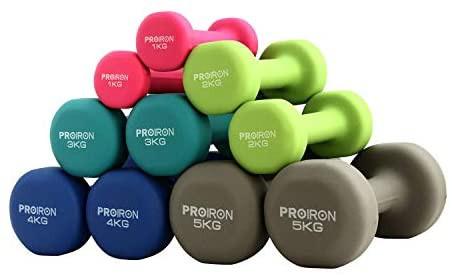 PROIRON ダンベル 1kg エクササイズ ネオプレンゴムコーティング [筋力トレーニング 筋トレ シェイプアップ 鉄アレイ 鉄アレー] [並行輸