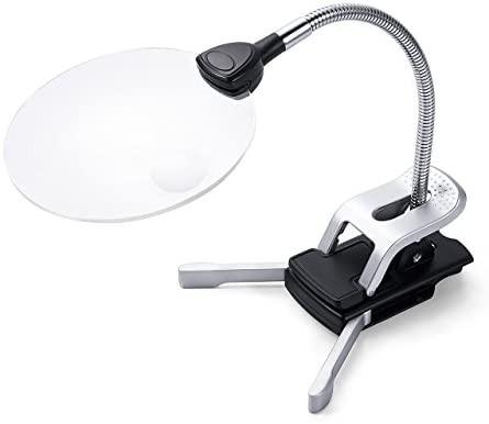 Sutekus スタンドルーペ ルーペ拡大鏡 拡大ルーペ 読書ルーペ 拡大鏡スタンド LEDライト付き クリップ対応 レンズ径11cm/13cm 2.5倍/5倍
