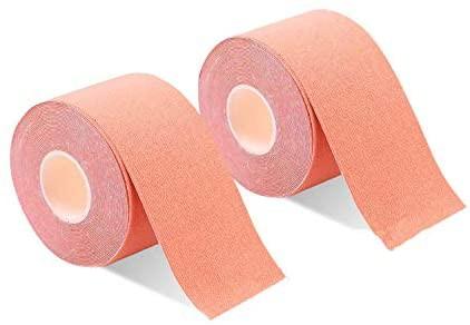 2巻入 テーピングテープ キネシオ テープ 筋肉・関節をサポート 伸縮性強い 汗に強い パフォーマンスを高める 5cm x 5m (ベーュ)