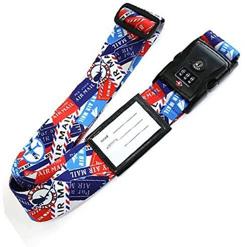 日本製 おしゃれ な ワンタッチ スーツケース ベルト (TSA ロック ネーム タグ 付き) エアメール