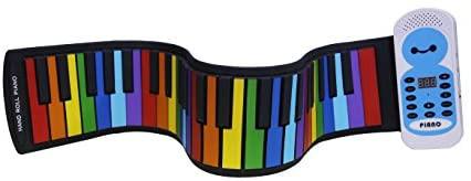 Sheny ハンドロールピアノ 49鍵 子供用 カラー色 持ち運びロールピアノ くるくる巻けてコンパクト!