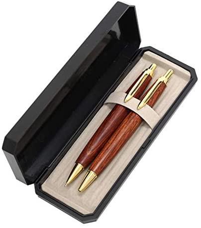 日本製木軸レトロ・ボールペンシャープペン2本セット 高級ケース入 花梨木軸ノック式レトロ調ボールペンとシャープペン 1本毎に柄の異な