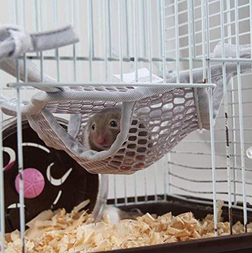 ハムスター ハンモック 小動物用 飼育ケージ内装 S/L 寝袋 吊り下げ式 メッシュ 通気性 涼しい 取り付け簡単 遊び場 ペットベッド 暑さ