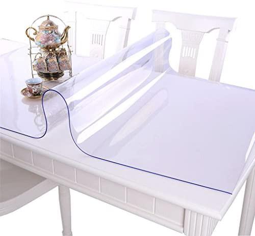 EGROON PVC製 テーブルクロス テーブルマット 透明 デスクマット マット テーブルカバー 長方形 厚さ1mm 防水 耐久 汚れ防止 90*180CM