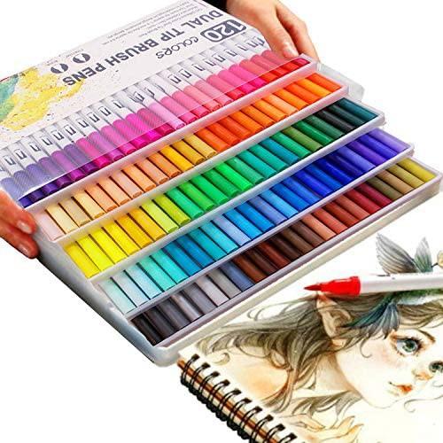 [island-banana] 水彩ペン 120色セット 水性ペン カラー筆ペン マーカー カラーペン 太字細字 塗り絵 事務用 画材 子供用画材 収納ケース