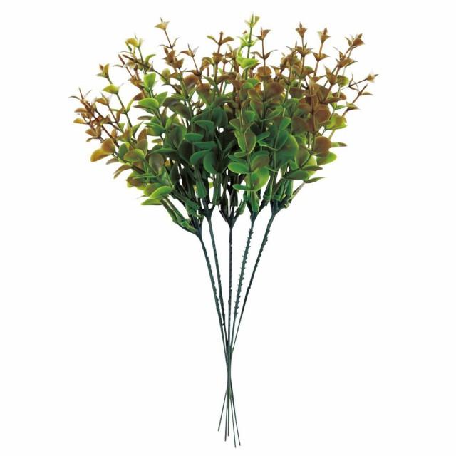 【6個から注文可能】人工観葉植物 フェイクグリーン 観葉植物 造花 ユーカリ 5本1セット 赤 25cm インテリア おしゃれ フェイク グリーン