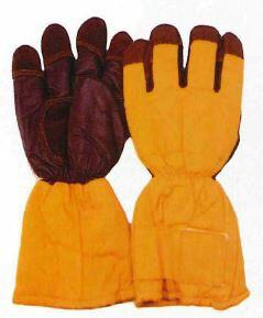 MB-128 冷凍庫用防寒手袋 サンエス(SUN-S)作業服・作業着フリー 表:防水帆布と革のコンビ・裏:アクリル100%ボア