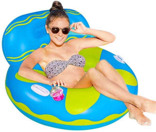 ウォーターソファー フロート 浮き輪 ドリンクホルダー付き 直径 105cm プール ナイトプール 水遊び おもちゃ プールフロート エアソファ