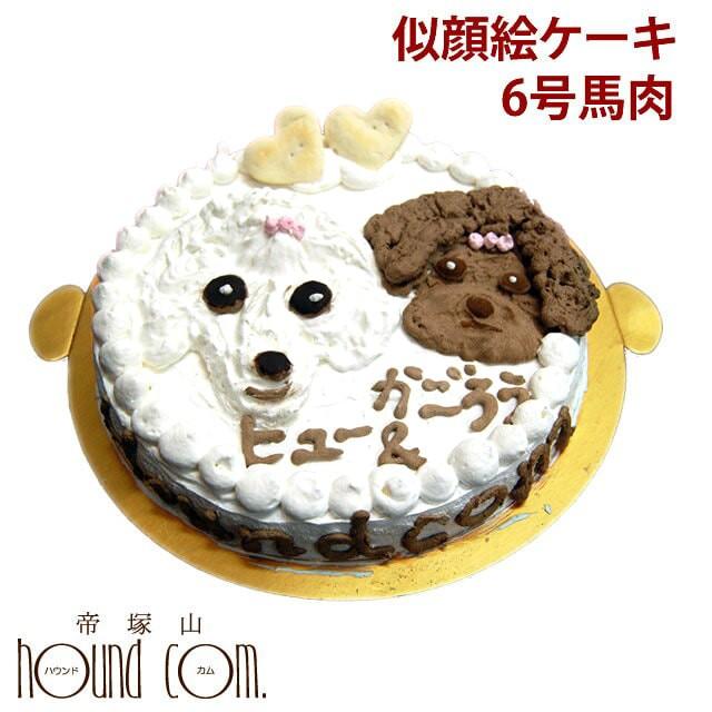 犬のケーキ 似顔絵ケーキ 6号 馬肉 犬 誕生日ケーキ 文字入れ プレゼント 誕生祝い パーティ【a0194】