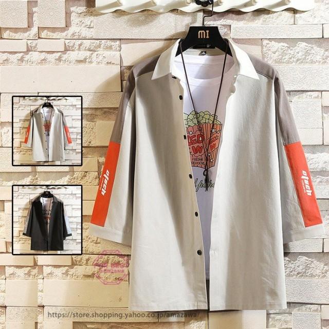 カジュアルシャツ メンズ 七分袖シャツ 切り替え 綿麻tシャツ カジュアル 大きいサイズ アメカジ 夏