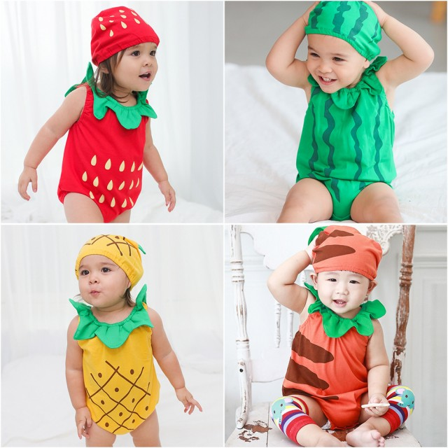 ベビー服 ロンパース 新生児 夏 男の子 女の子 半袖 帽子付き 綿 オーバーオール 赤ちゃん 柔らかい おしゃれ 果物 カボチャ