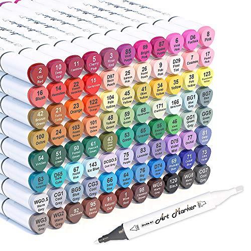 『全国送料無料』Shuttle Art イラストマーカー 88色 ブレンダーペン付き 2種類のペン先 油性 カラーペン アートマーカー 防水 速乾 スケ