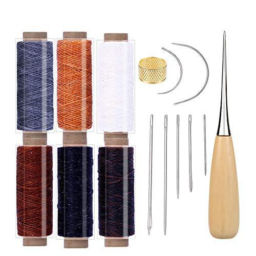 『全国送料無料』RMTIME 蝋引き糸 レザークラフト 15点セット 革 DIY 手作り 裁縫 ロウ引き糸 6色 縫い糸用針 指守り輪 レザーツール 皮