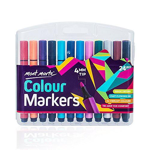 『全国送料無料』Mont Marte マーカーペン 24色 セット 水性ペン カラーペン サインペン 塗り絵 学習事務用 オフィス用 4mm