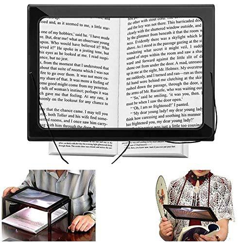 『全国送料無料』HUOFU 読書用ルーペ 拡大鏡 虫眼鏡 A4フルページ 倍率3倍 LEDライト付き 2WAY ハンズフリー 3Xルーペ 新聞 雑誌 地図 手