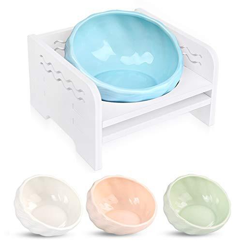『全国送料無料』猫 えさ皿 食器台 食べやすい フードボウル 陶器 4色 (水色)