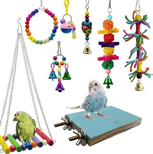 『全国送料無料』Kingsie インコ おもちゃ 8点セット 噛む玩具 吊下げタイプ ブランコ ベル 遊び場 ボール バードトイ 止まり木 ストレス