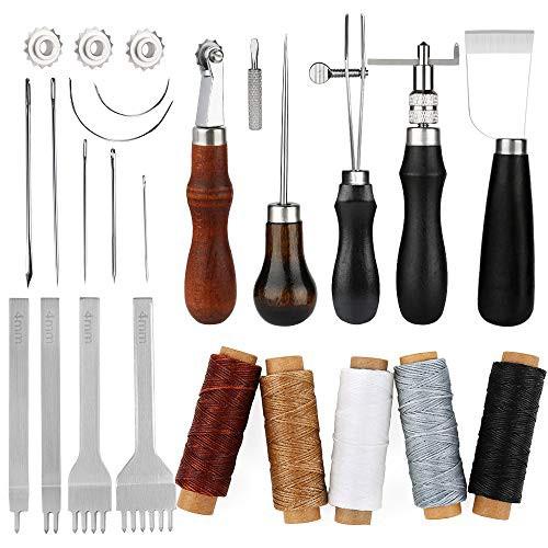 『全国送料無料』レザークラフト 手縫い 革工具セット レザークラフト 縫製キット 蝋引き紐 縫い針 千枚通し ステッチンググルーバー ス