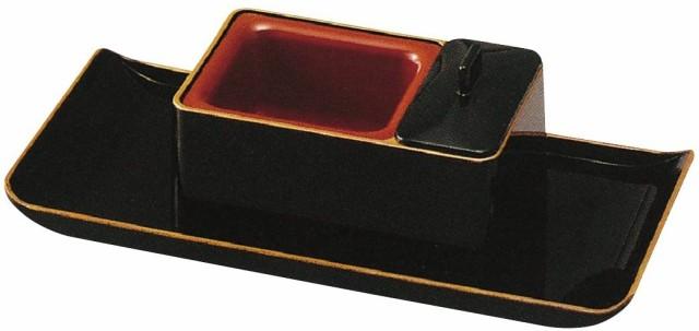 法事に便利な、焼香用の回し香炉とお盆のセット★ナカムラ商事 焼香盆セットじあい黒 フチ金★