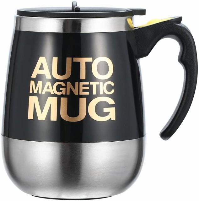Ysinobear マグカップ 自動ミキサーカップ 電動シェーカー ステンレス製 マグネット 自動 撹拌 大容量 クリーン簡単 漏れ防止 (ブラック)