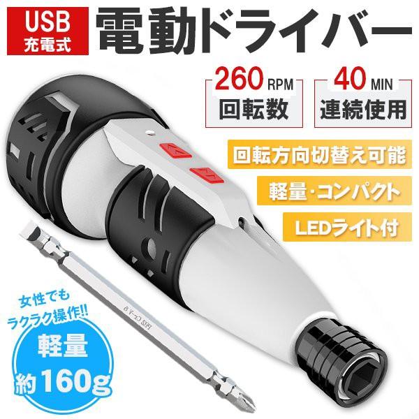 電動ドライバー 電動ドリル LED付き コードレス 自動 USB充電式 六角 最大10Nm 正逆転切り替え 小型 ドライバー DIY コンパクト 両頭ビッ